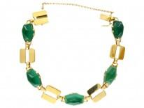 Art Deco French 18ct Gold & Green Chalcedony Bracelet