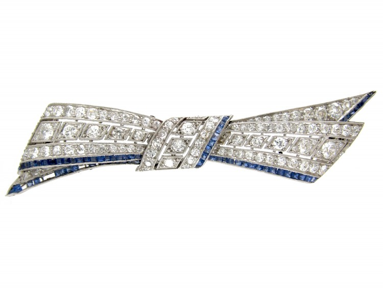 Art Deco Platinum, Diamond & Sapphire Bow Brooch