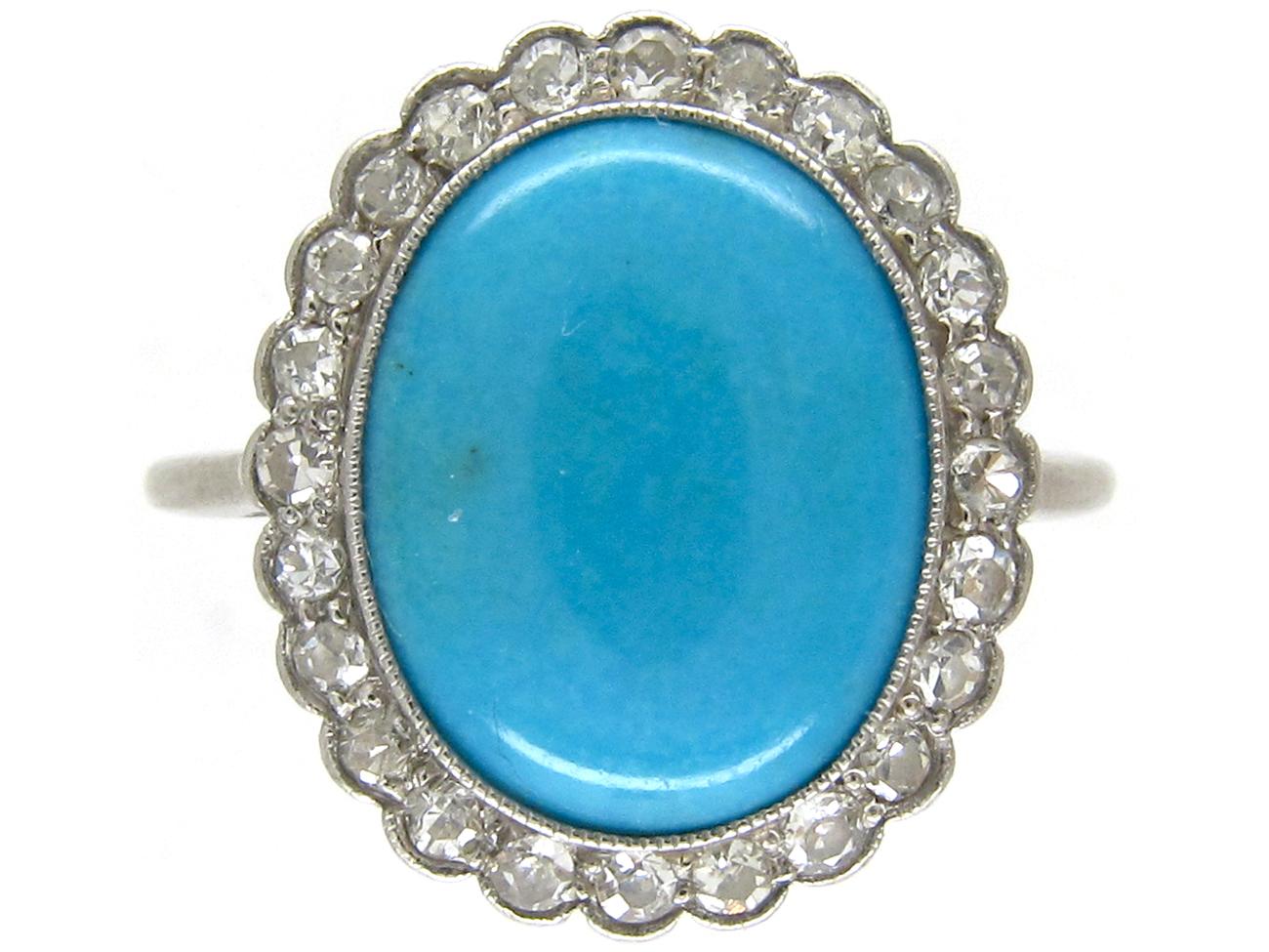 Edwardian Turquoise & Diamond Cluster Ring