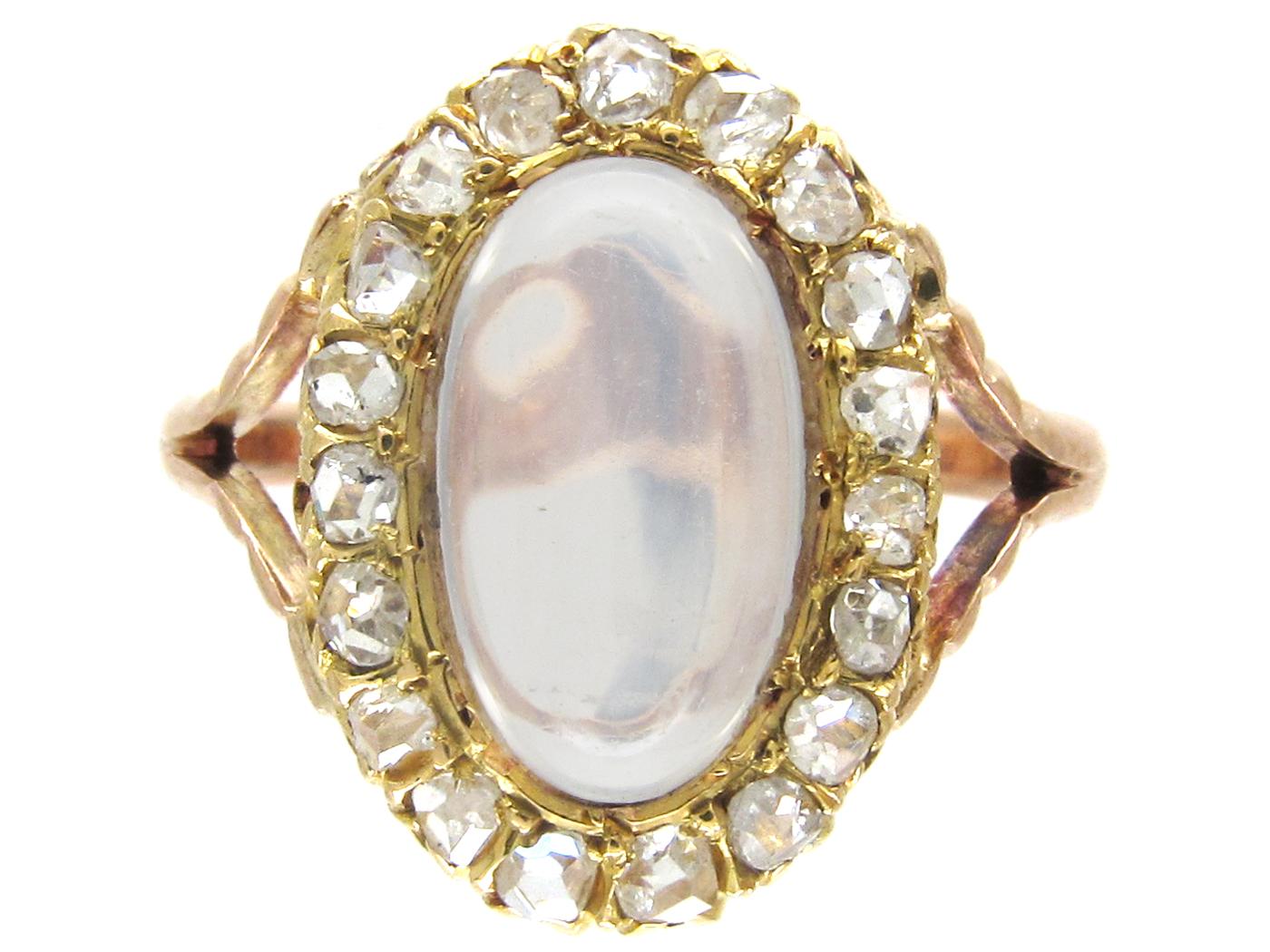 Edwardian Moonstone & Diamond Cluster Ring