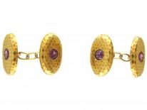 French 18ct Gold & Almandine Garnet Cufflinks