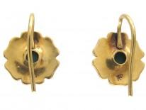 Edwardian 18ct Gold Natural Split Pearl & Turquoise Flower Earrings
