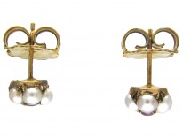 Edwardian Natural Ruby & Natural Pearl Cluster Earrings
