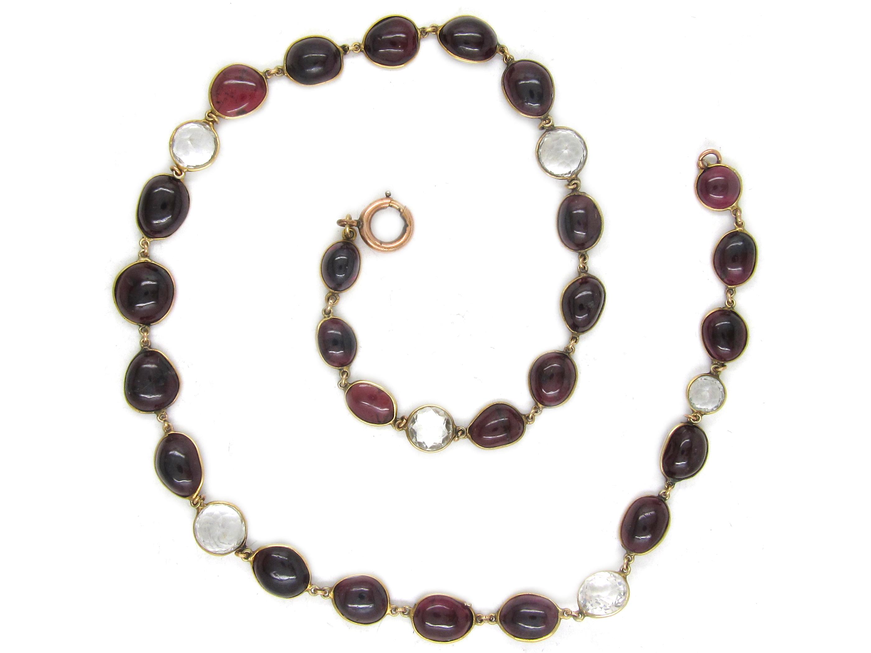 Gold Rock Crystal & Garnet Necklace