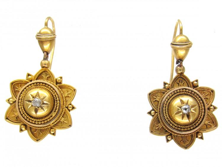 Victorian 18ct Gold Etruscan Design & Diamond Set Earrings
