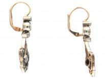 Art Nouveau Diamond Set Drop Earrings