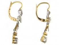 Edwardian Diamond Bow & Leaf Drop Earrings