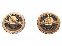 Victorian Rose Diamond & Natural Split Pearl Round Earrings