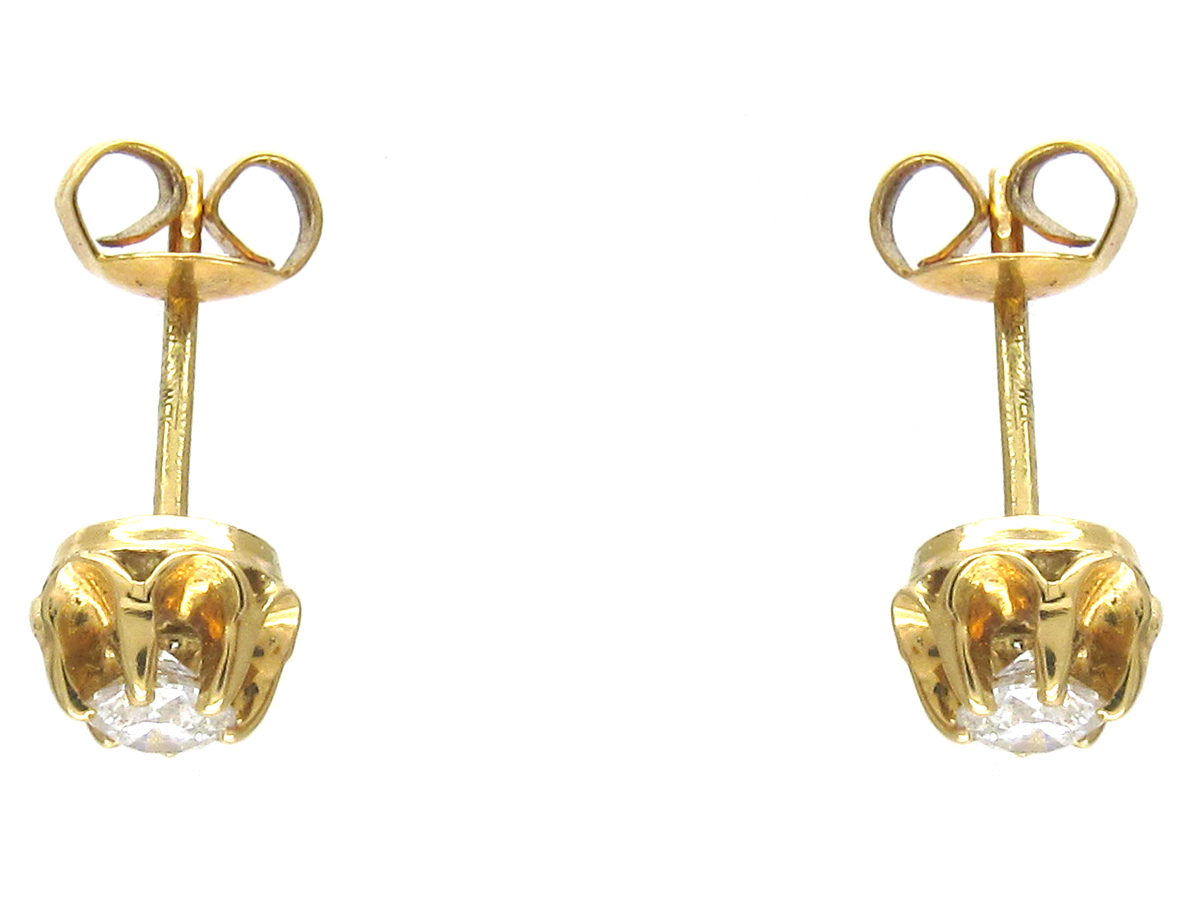 18ct Gold & Diamond Solitaire Earrings