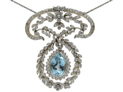 Edwardian Platinum Aquamarine & Diamond Pendant by J E Caudwell on Platinum Chain
