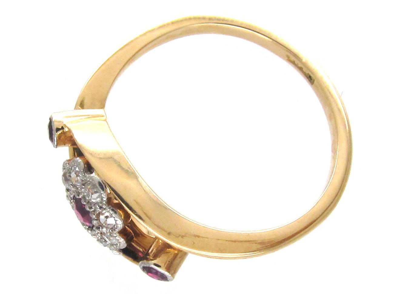 Edwardian Ruby & Diamond Open Cluster Ring