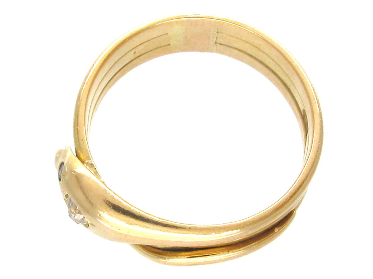 Victorian 18ct Gold & Diamond Snake Ring