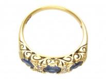 Victorian Three Stone Sapphire & Diamond Ring