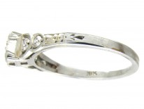 Art Deco Diamond Solitaire Ring with Diamond Shoulders