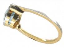 Edwardian 18ct Gold & Platinum Aquamarine & Diamond Ring