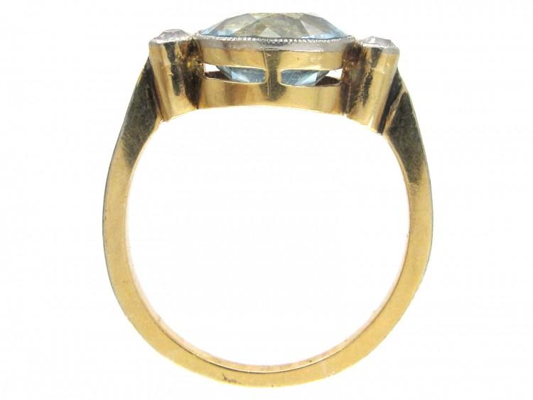 Edwardian 18ct Gold Amp Platinum Aquamarine Amp Diamond Ring