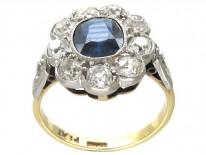 Edwardian Large Diamond & Sapphire Cluster Ring