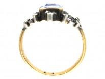 Edwardian Rectangular Cut Natural Sapphire & Diamond Ring