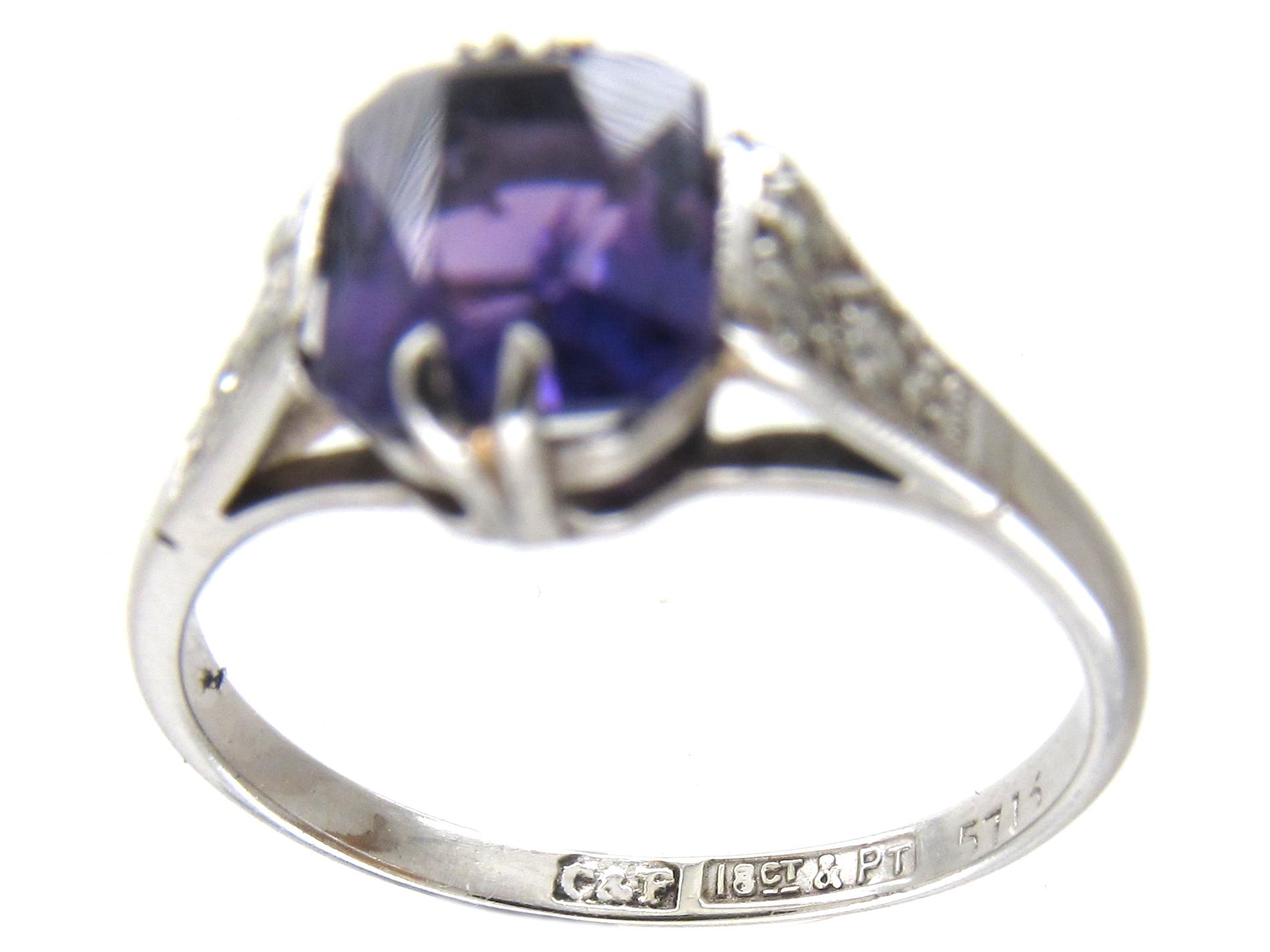 18ct & Platinum Art Deco Amethyst & Diamond Ring