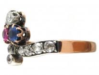 Art Nouveau Sapphire Diamond & Ruby Trefoil Ring