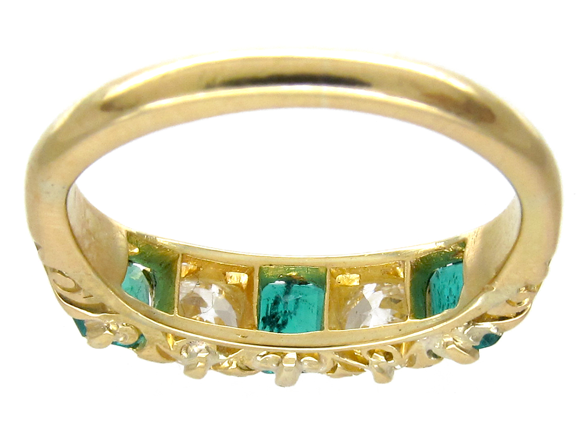 Victorian Five Stone Emerald & Diamond Ring