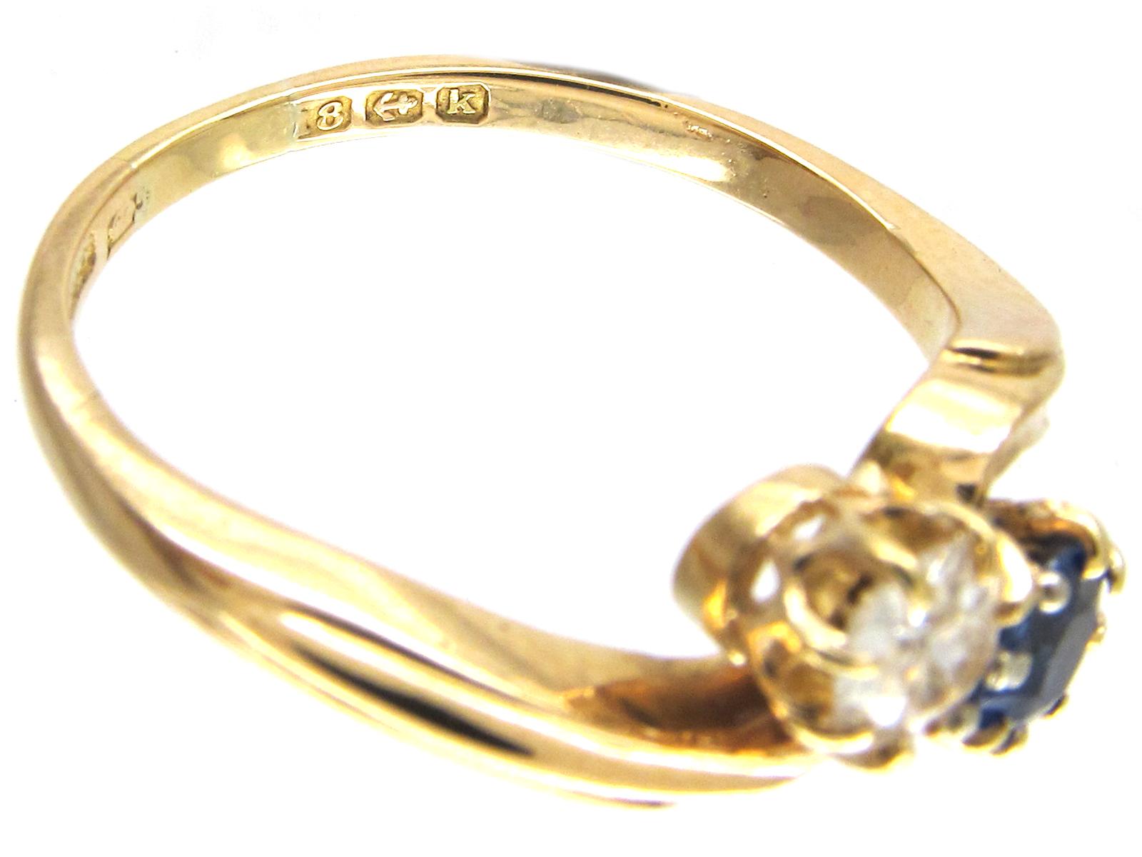 Edwardian Two Stone Diamond & Sapphire Crossover Ring