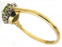 18ct Gold & Platinum Edwardian Peridot & Diamond Cluster Ring