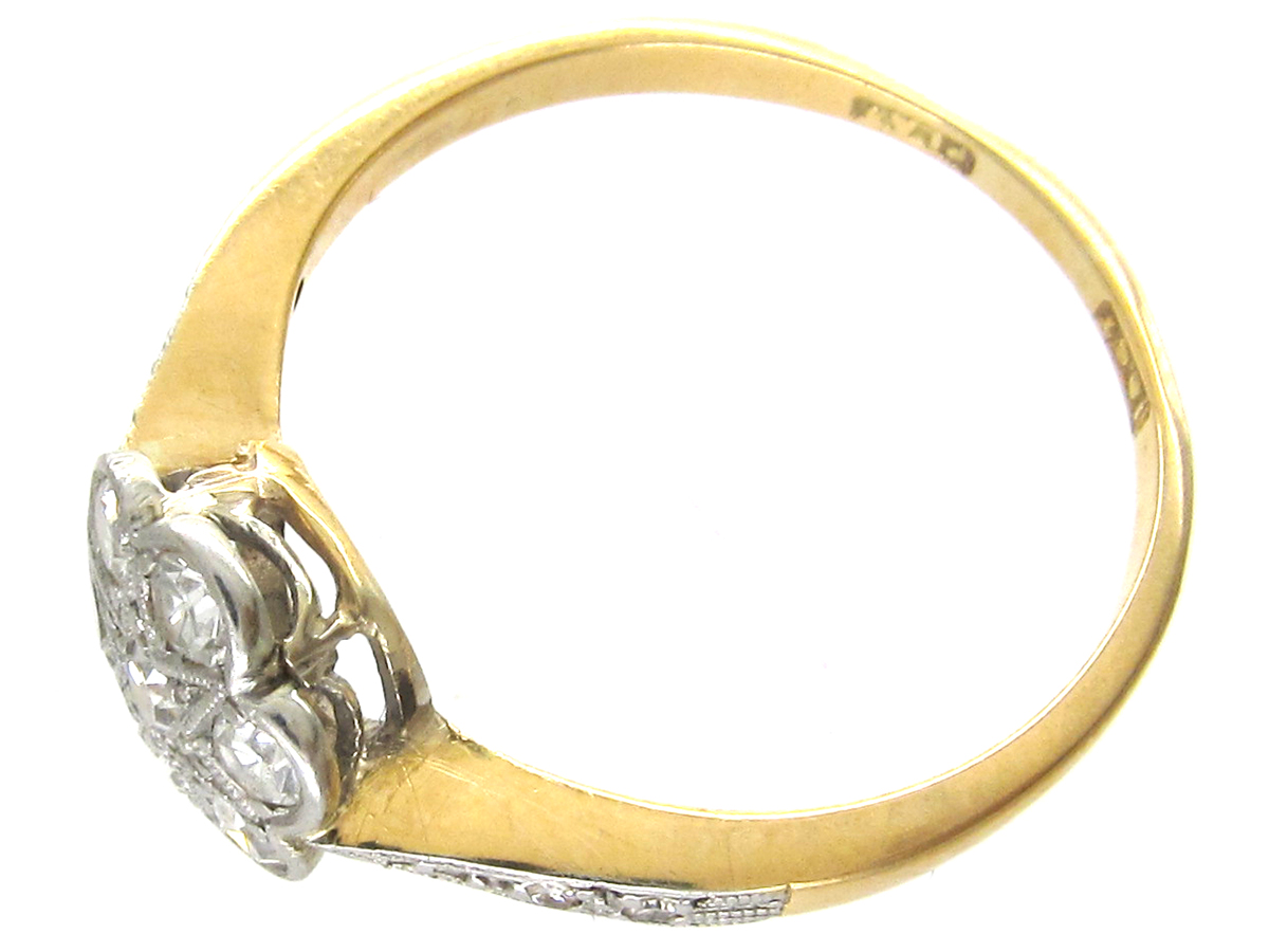 Edwardian Flower Cluster Ring with Diamond Shoulders