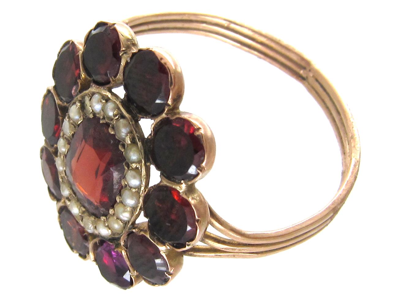 Georgian Flat Cut Garnet & Pearl Cluster Ring