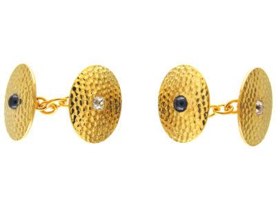 Edwardian 18ct Hammered Gold Sapphire & Diamond Cufflinks