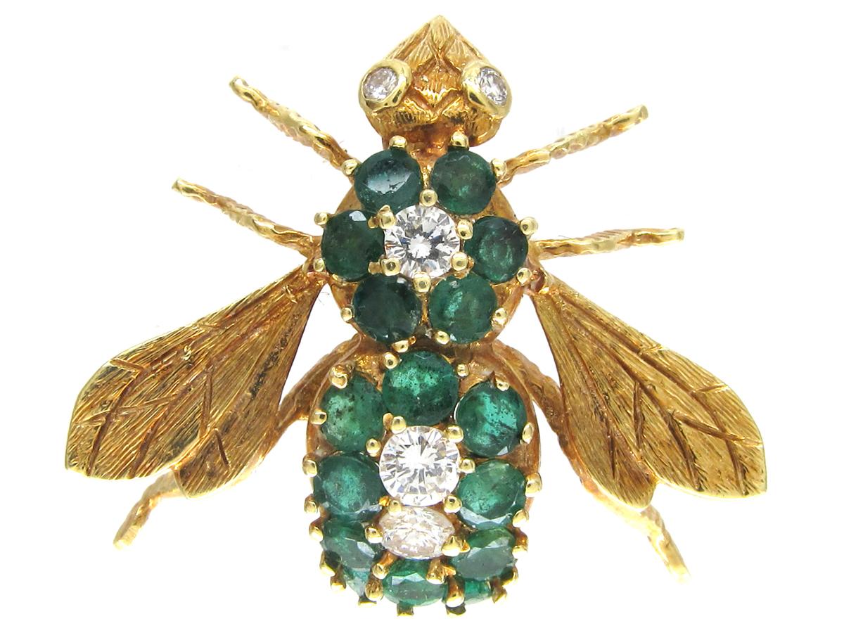 Emerald & Diamond 18ct Gold Bee Brooch