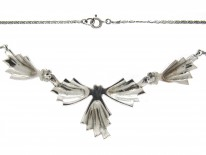 Silver & Marcasite Art Deco Bow Design Necklace