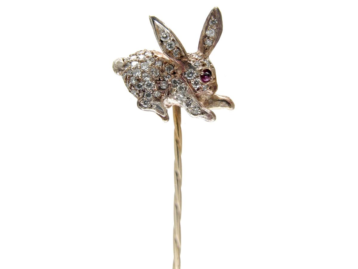 Edwardian Rose Diamond & Ruby Rabbit Stickpin