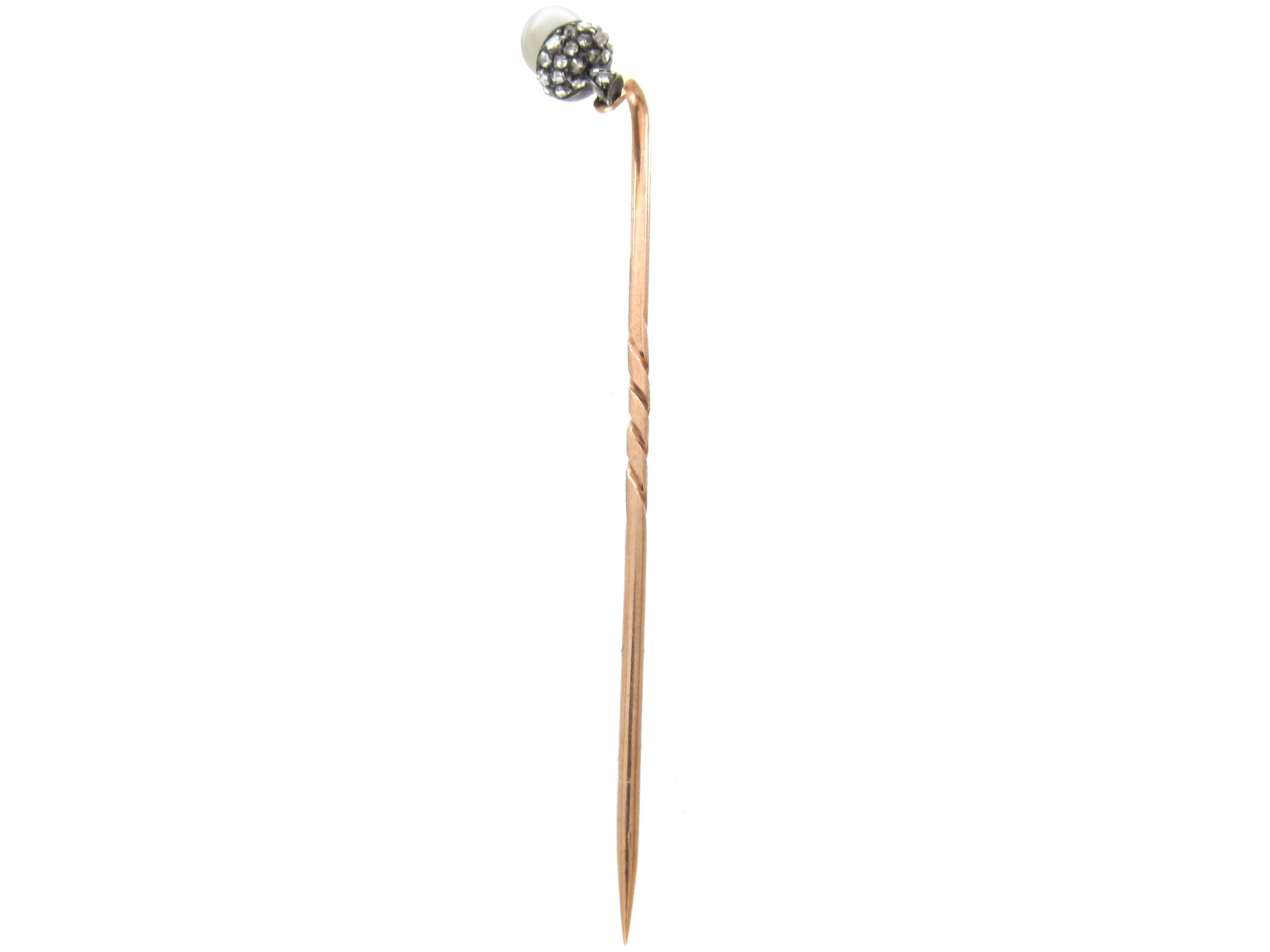 Edwardian Natural Pearl & Rose Diamond Acorn Stickpin