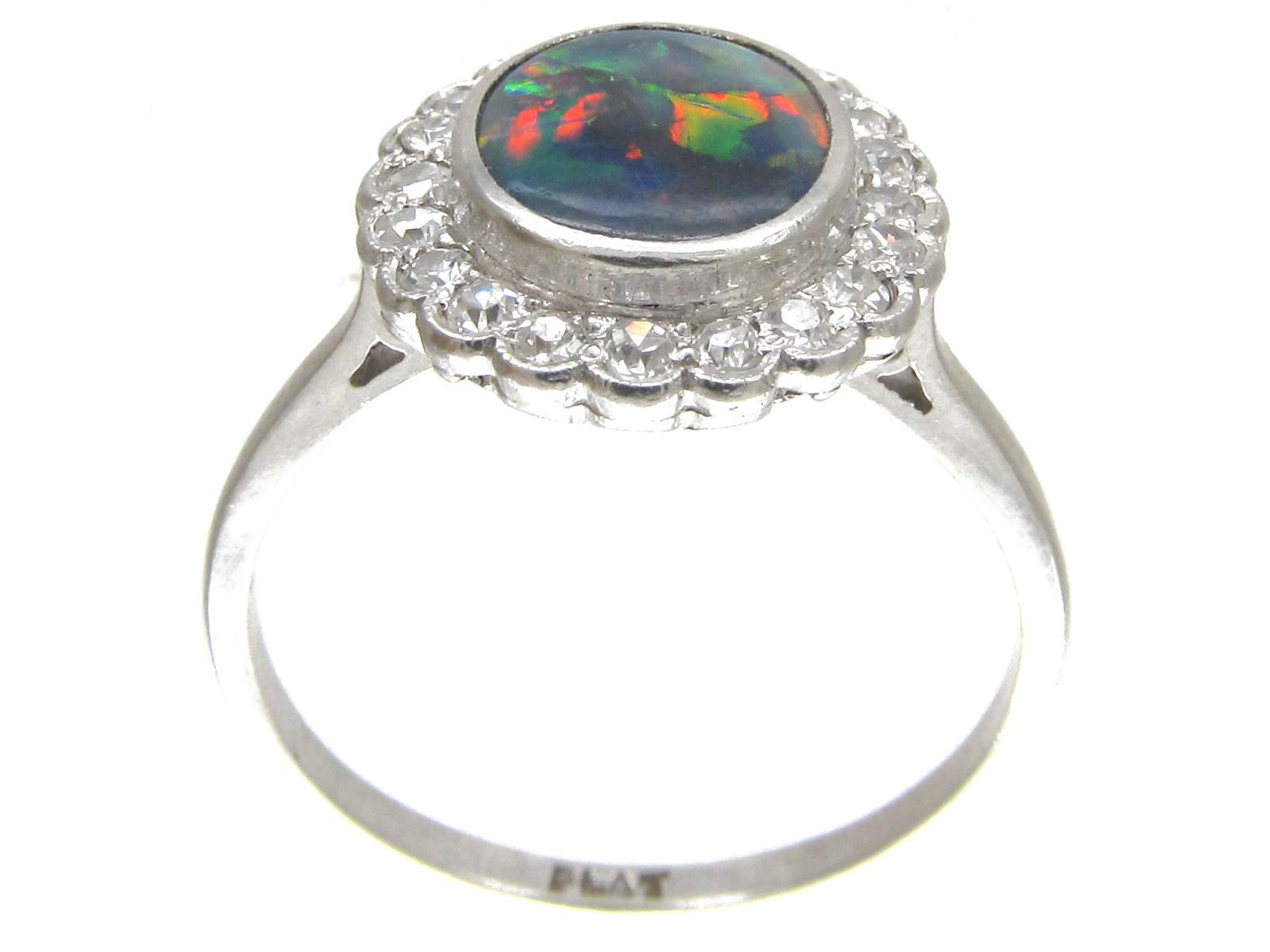 Art Deco Black Opal & Diamond Cluster Ring