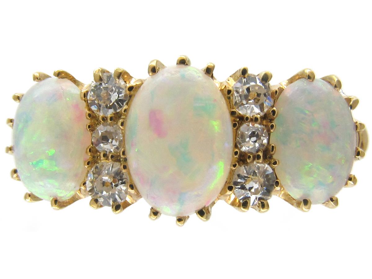 Victorian Three Stone Opal & Diamond Ring