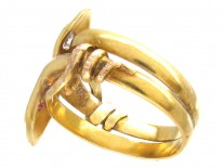 18ct Gold Double Snake Ring set with a Ruby & Diamond