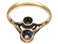Art Deco Sapphire & Diamond Two Circles Ring
