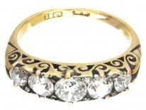 Victorian Carved Half Hoop Diamond Five Stone Ring