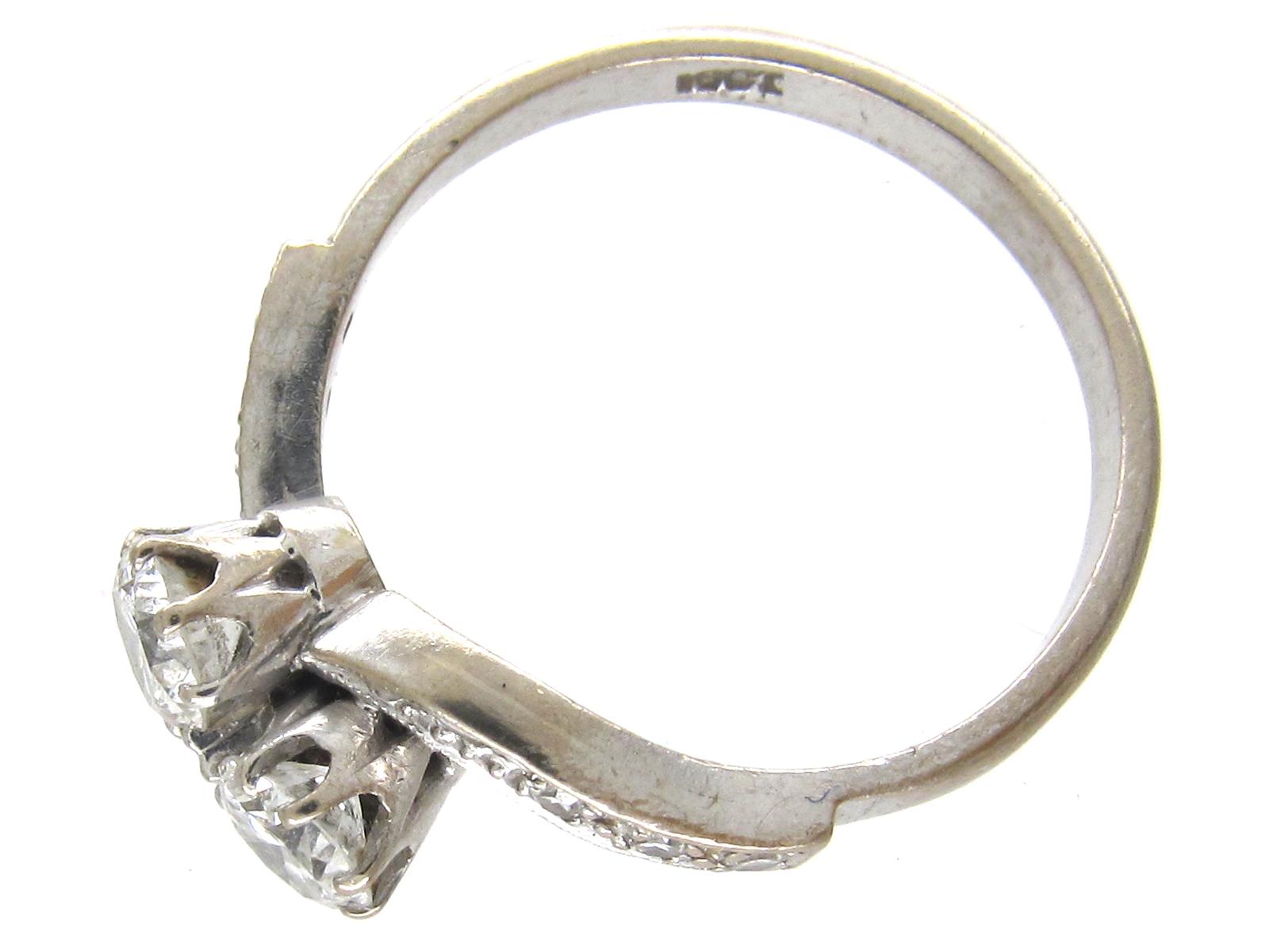 18ct White Gold Art Nouveau Two Stone Diamond Crossover Ring