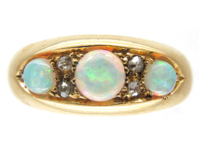 Victorian 18ct Gold Opal & Diamond Ring