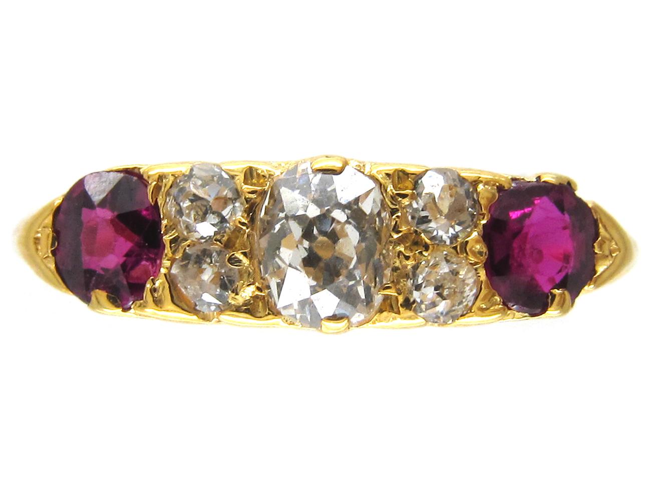 Edwardian 18ct Gold Ruby & Diamond Ring