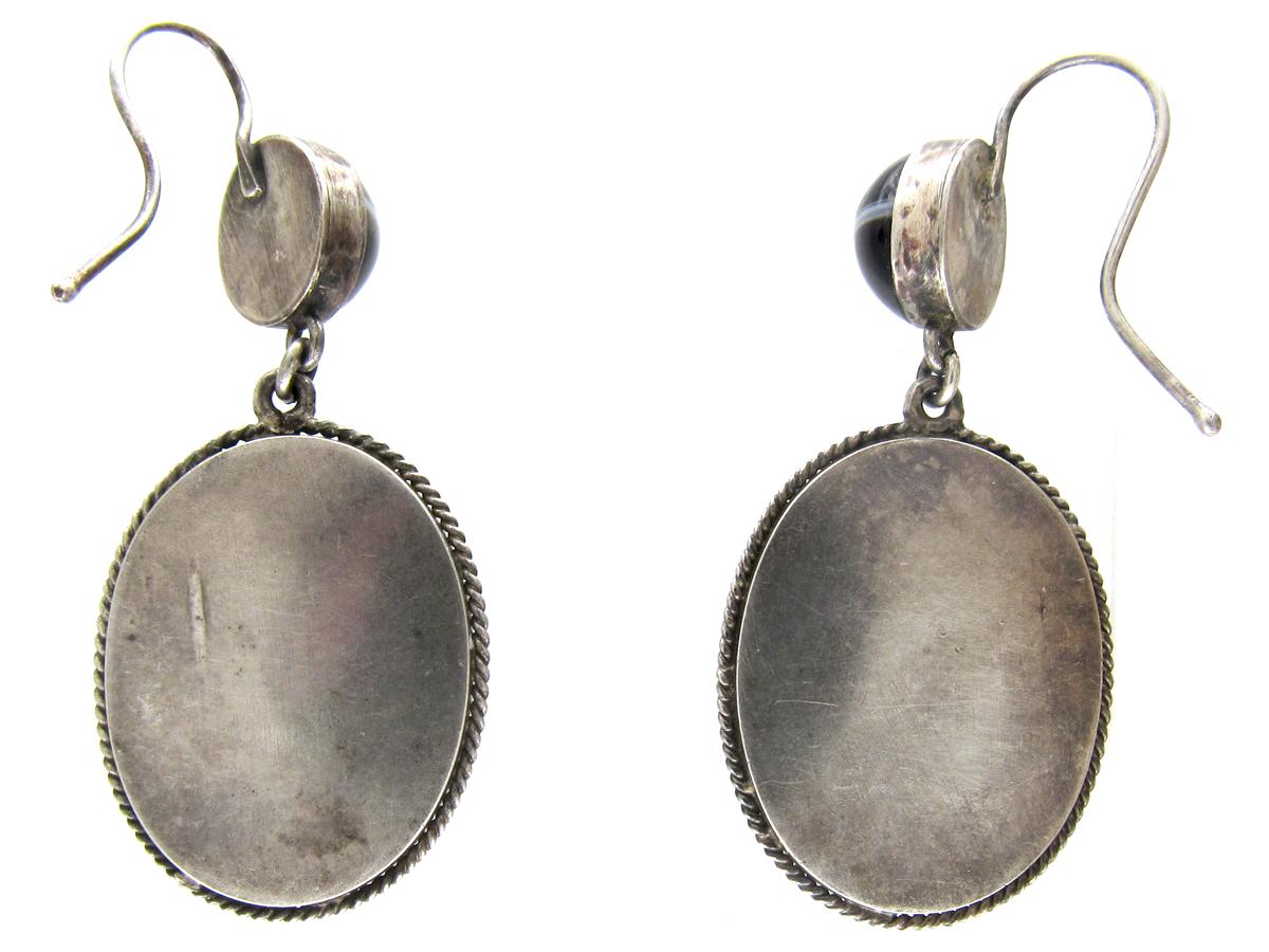 Victorian Banded Onyx Drop Earrings