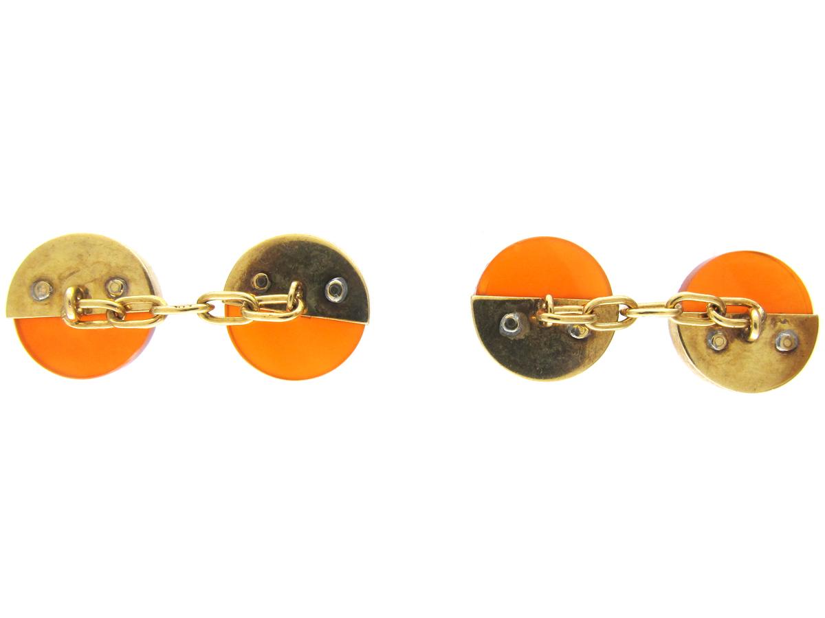 Art Deco 14ct Gold & Carnelian Cufflinks