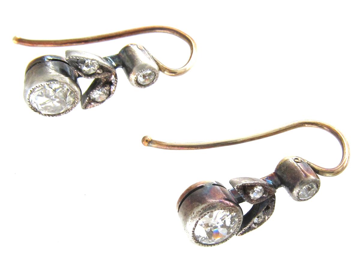 Edwardian Diamond Flower & Leaf Earrings