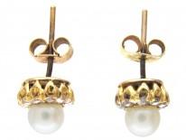 18ct Gold Pearl & Diamond Cluster Earrings