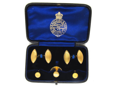 Victorian 18ct Gold Cufflinks & Studs in Original Case