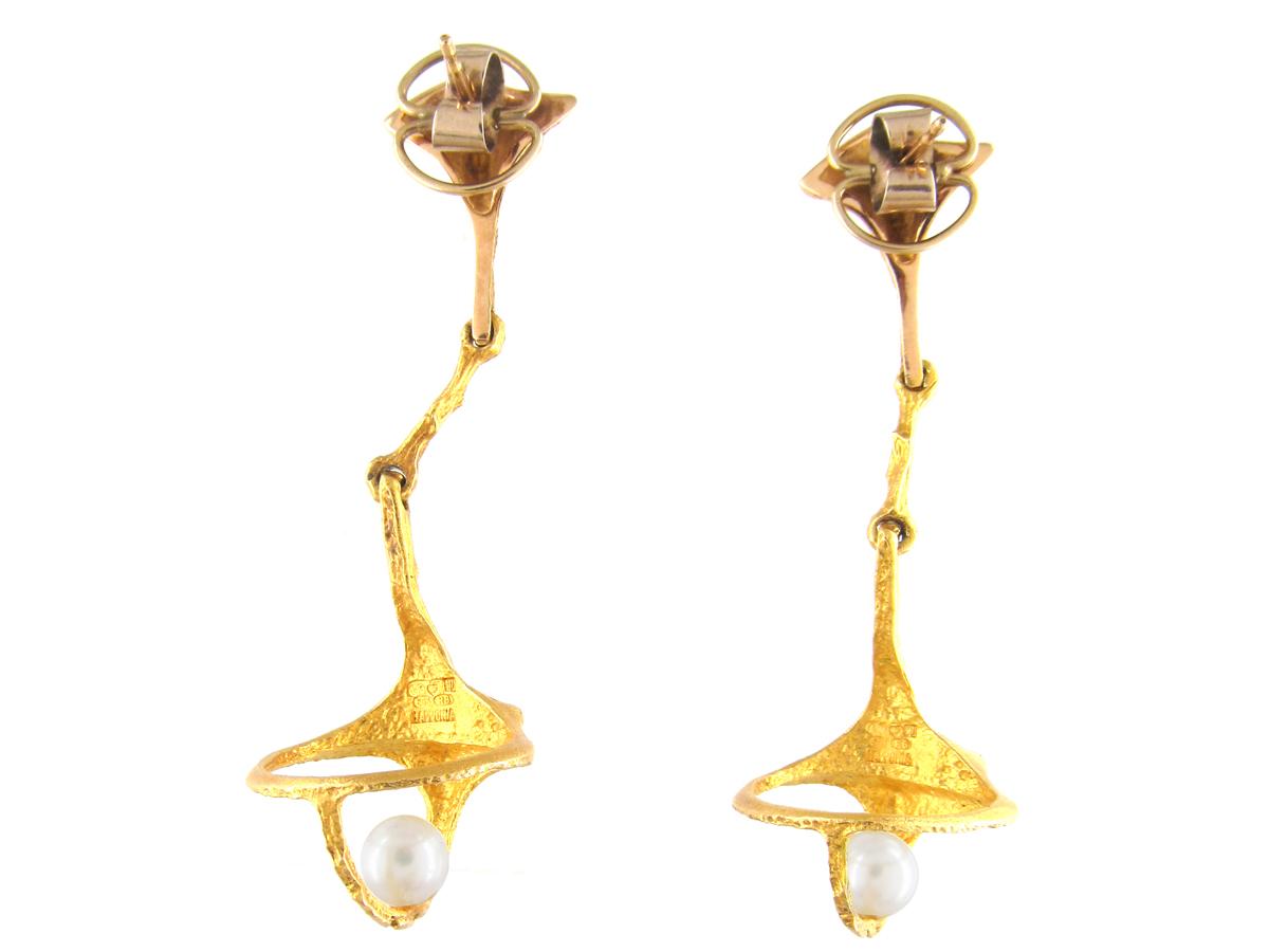 Long Drop 14ct Gold & Pearl Earrings By Björn Weckström for Lapponia