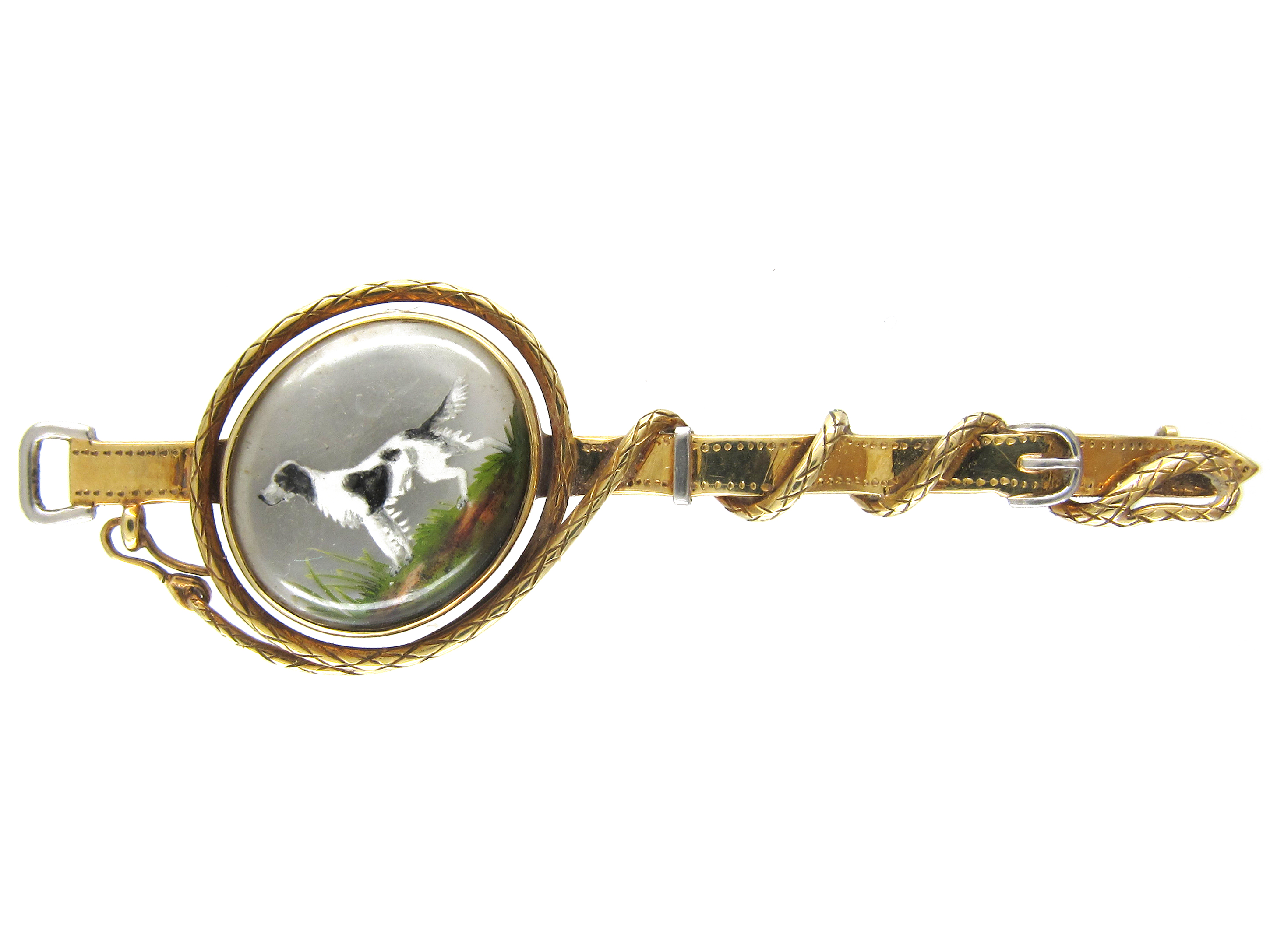 15ct Gold Reverse Intaglio Spaniel with Collar & Lead Brooch