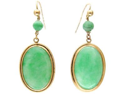 Oval 18ct Gold & Jade Drop Earrings